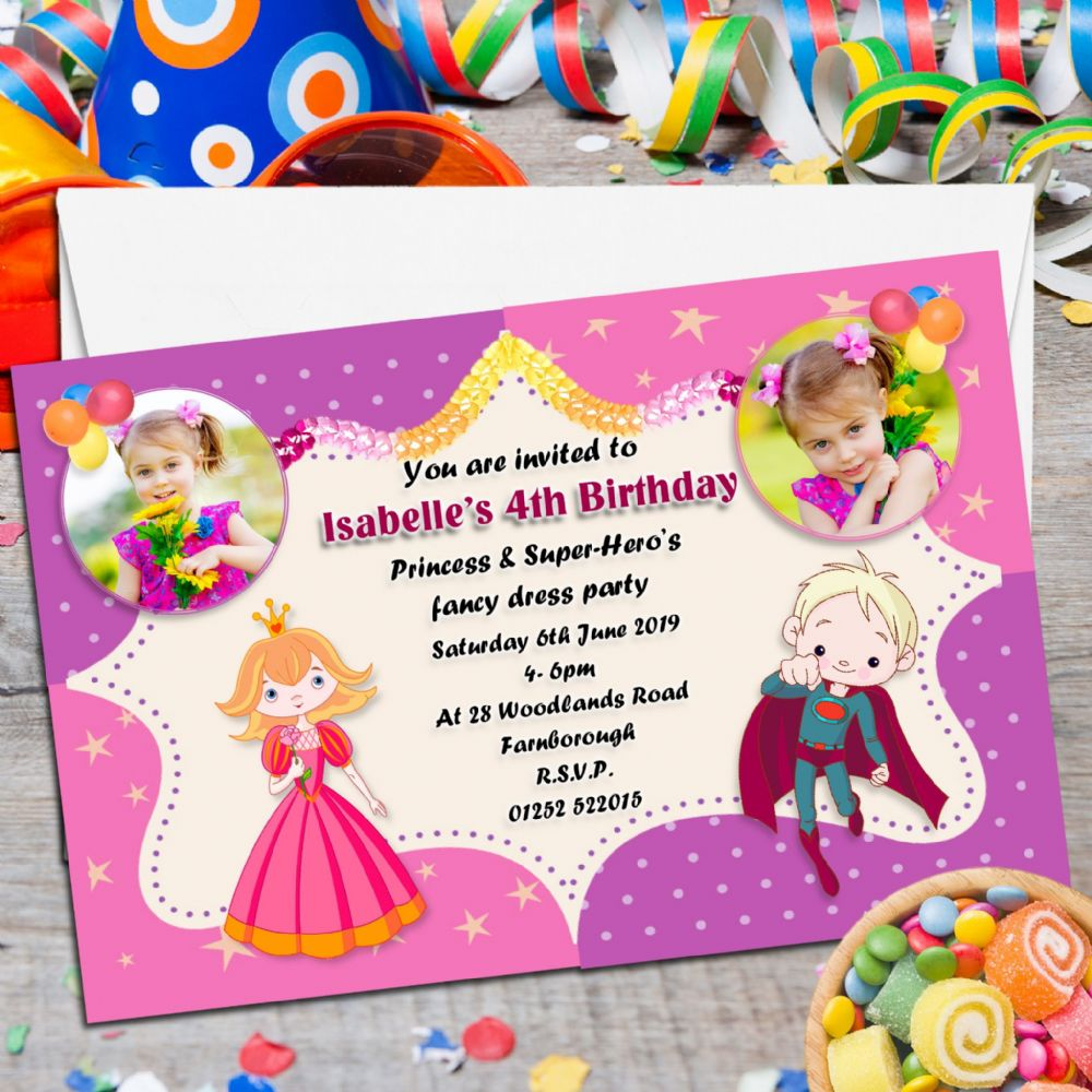 10 Personalised Princess & Super Hero s Birthday Party PHOTO ...